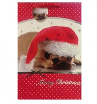 Large Pug Santa Christmas Gift Bag
