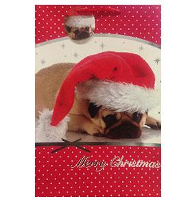 XX Large Pug Santa Christmas Gift Bag