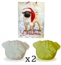 Two Special Edition Christmas Wax Melts Gingerbread & Spiced Apple In FREE Pug Christmas  Gift Bag