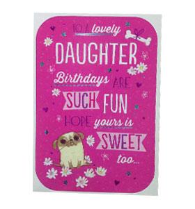 Large Pug Daughter Birthday Card