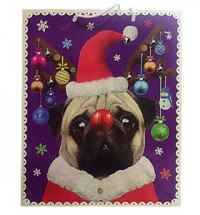 Large Pug Christmas Gift Bag