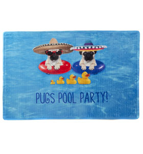 Pug Pool Party Bath Mat