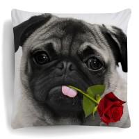 Pug Rose Cushion