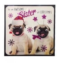 Pug Sister Christmas Card