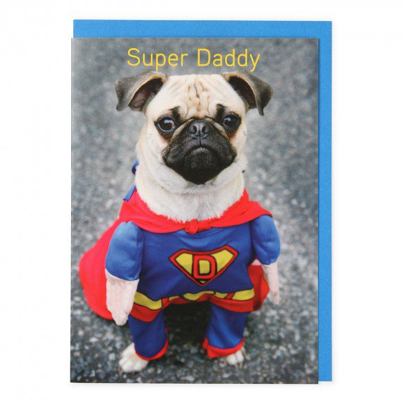 Superman Pug Dad Birthday Card