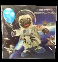 Pug 3D Space Birthday Card