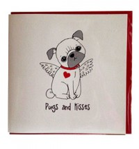 Pug Angel Valentines Day Card