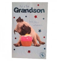 Pug Grandson Birthday Card