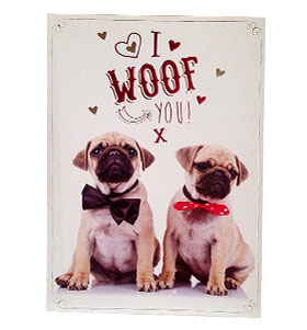 I Woof You Pug Valentines Day Card