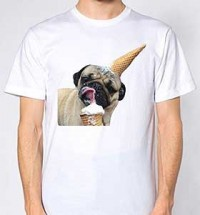 Ice cream Lickin Pug Unisex T-Shirt