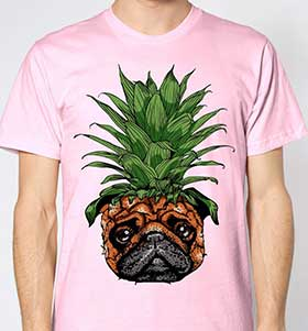 Pug Pineapple Head Unisex T-Shirt (Available in 4 colours)