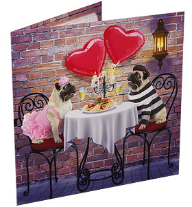 Romantic Pugs Valentines Day Card