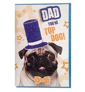 Top Dad Pug Birthday Card