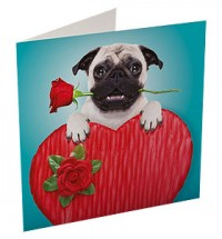 Big Heart Pug Valentines Day Card