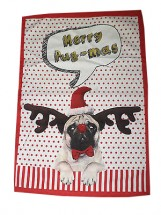 Pug Christmas Tea Towel