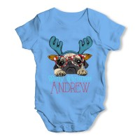 Blue Pug Reindeer Christmas Baby Grow