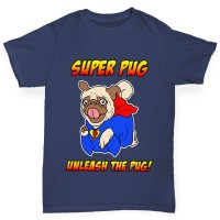 Boys Pug Superhero T-Shirt  (Available in Five colours)