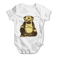 White Buddha Pug Baby Grow