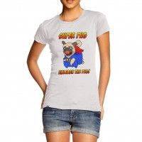 Ladies Superhero Pug T-Shirt (Available in 2 colours)