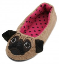 Ladies Knitted Pug Slippers