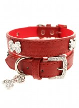 Urban Pup Red Leather Diamante  Collar