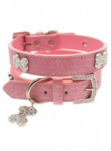 Urban Pup Pink Leather Diamante  Collar