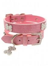 Urban Pup Pink Leather Diamante  Collar