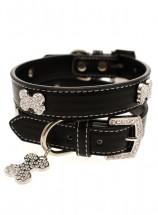 Urban Pup Black Leather Diamante  Collar