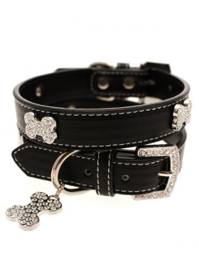 Urban Pup Black Leather Diamante  Collar