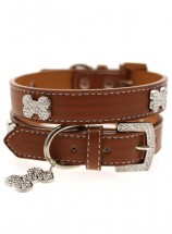 Urban Pup Brown Leather Diamante  Collar