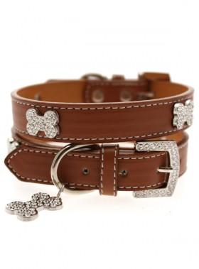 Urban Pup Brown Leather Diamante  Collar