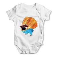 Unisex Superhero Pug Baby Grow