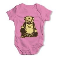 Pink Buddha Pug Baby Grow