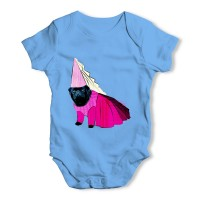 Blue Black Pug Princess Baby Grow