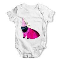 White Black Pug Princess Baby Grow