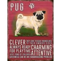 Vintage Style Pug Hanging Plaque