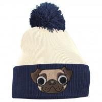 Ladies/Girls Pug Navy Blue & Off White  Beanie Hat