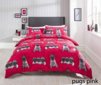 Pink Pug Double Duvet Set