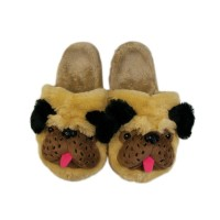 Ladies Fluffy Pug Slippers