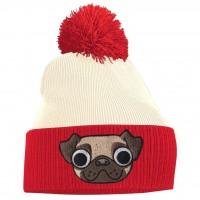 Ladies/Girls Pug Red & White Beanie Hat