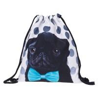 Black Pug Pup Drawstring Bag