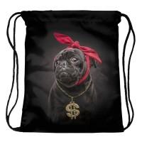 Black Pug Gangster Drawstring Bag