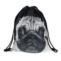Black & White Pug Drawstring Bag