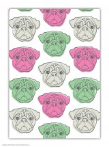 Pug Patterned A6 Notebook
