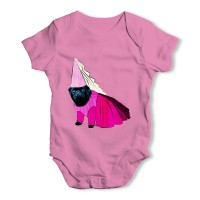 Pink Black Pug Princess  Baby Grow