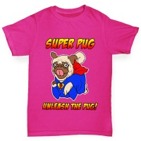 Girls Superhero Pug T-Shirt(Available in Three colours)