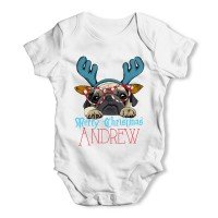 White Pug Reindeer Christmas Baby Grow