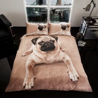 Fawn Pug Double Duvet Set