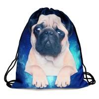 Galaxy Pug Drawstring Bag