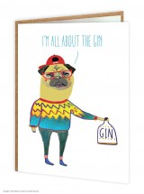 I'm All About The Gin Blank Pug Card